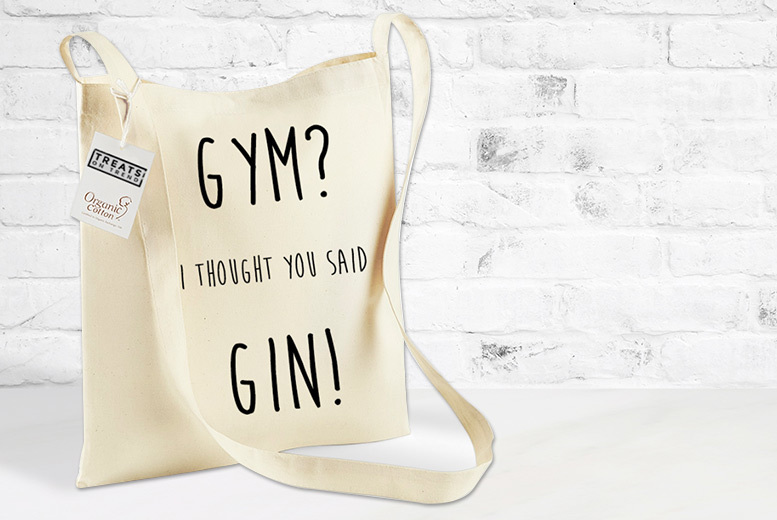 'Gym Not Gin' Tote Carry Bag for £7.99