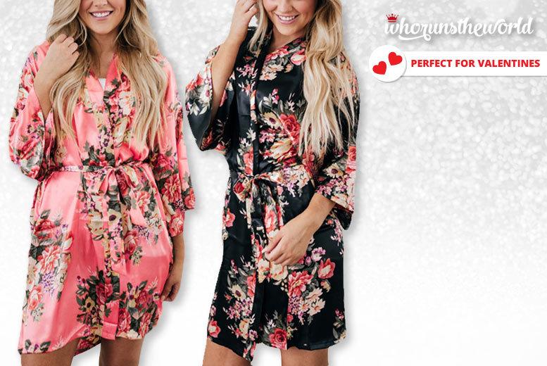 Floral Silk Kimono – 2 Colours & Sizes 8-14! for £8.99