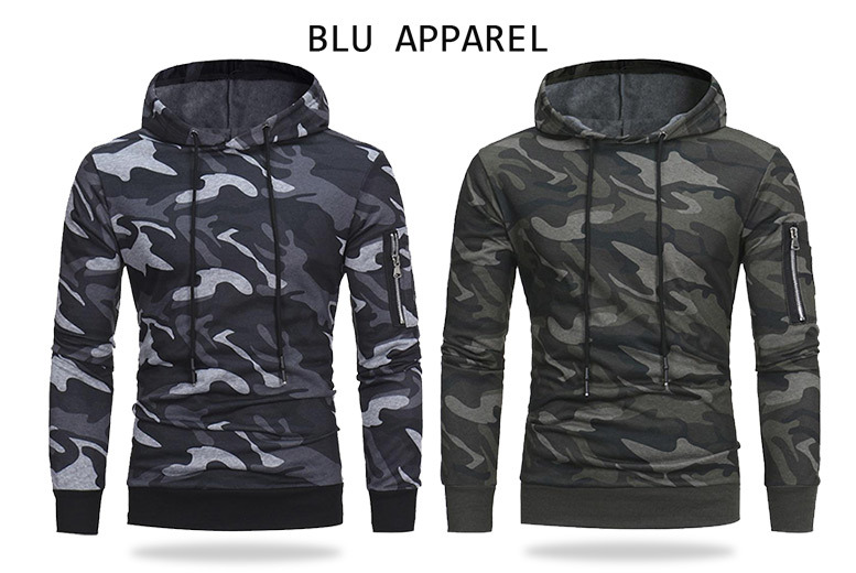 Men's Camo Hoodie – 2 Colours! for £14.99