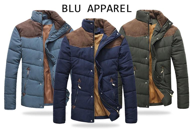 Men's Contrast Shoulder Padded Jacket – 3 Colours! for £24