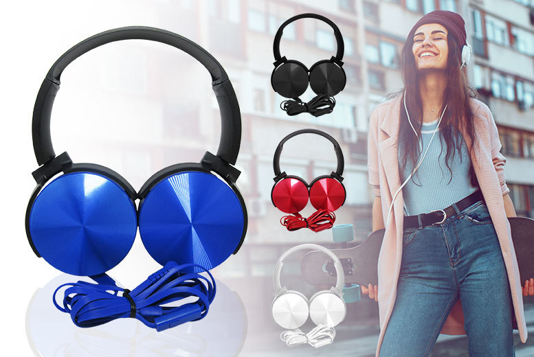 Powerful Bass Foldable Headphones – 4 Colours! for £9.99