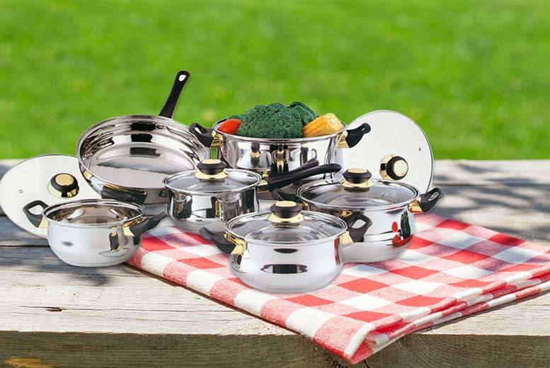 £19.99 instead of £90 for a 12-piece stainless steel cookware set - cook up a storm this summer and save 78%