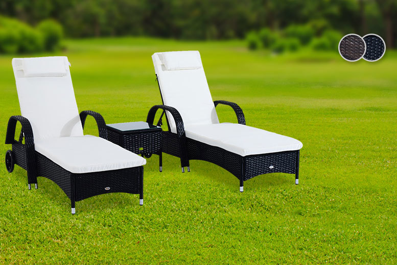 £189 instead of £399.99 for a three-piece rattan furniture set including two sun loungers and a table - choose black or brown and save 53%