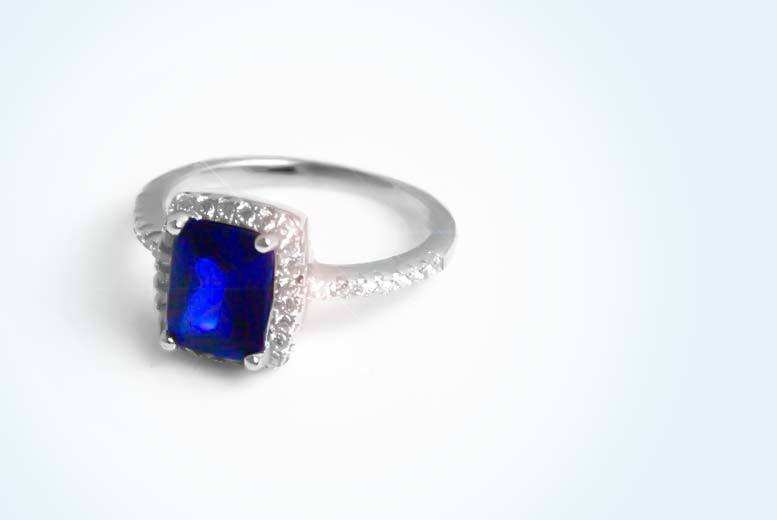 3ct blue cubic zirconia ring