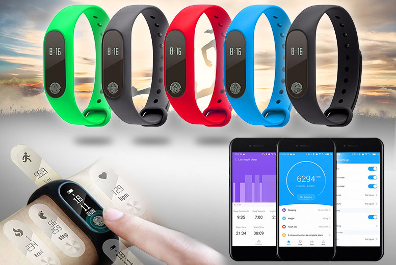 Smart-Touch Fitness Bracelet & Heart Rate Monitor – 5 Colours! for £19