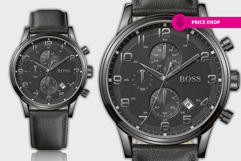 Men's Hugo Boss HB1512567 Black Chronograph Watch - CLEARANCE STOCK!