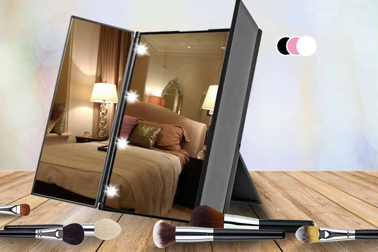 Tri-Fold LED Makeup Mirror – 3 Colours! for £9.99