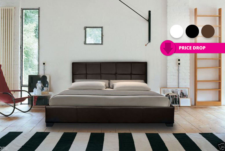 Modern Italian Designer Faux Leather Bed – 3 Colours & 2 Mattress Options! from £44