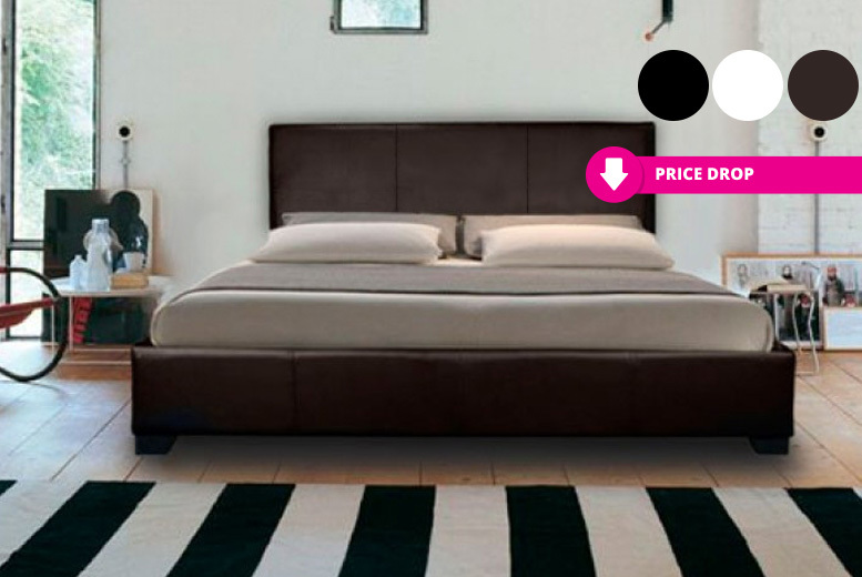 Modern Italian Designer Faux Leather Bed - 3 Colours & 2 Mattress Options!