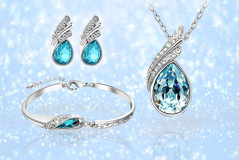 Blue Crystal Fairytale Tri Set Made with Crystals from Swarovski® for £19