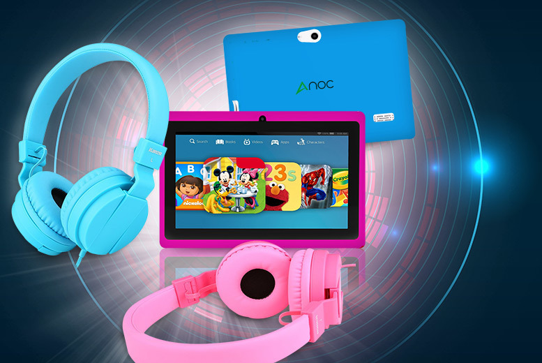 "£34 instead of £149.99 (from D2D) for a 7"" kids' dual core Android tablet and folding headphones - choose pink or blue and save 77%"