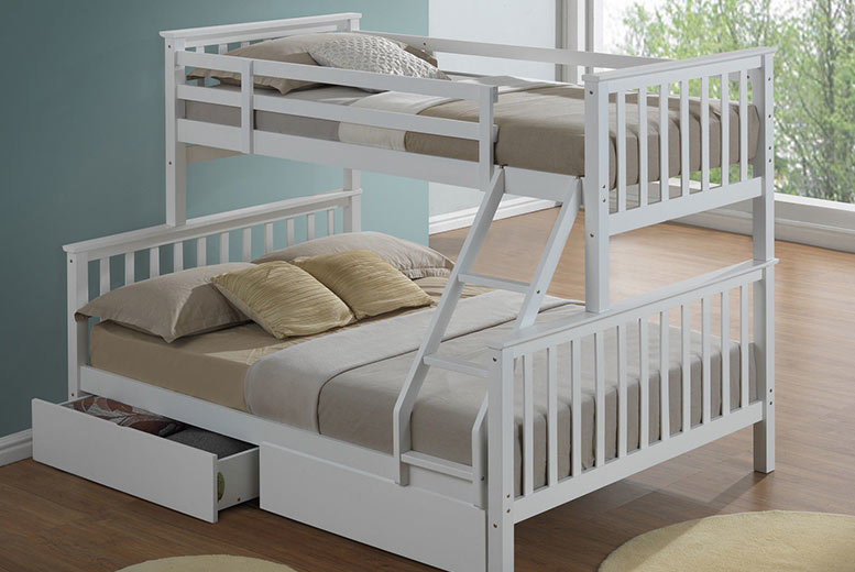 Kids' 3-Sleeper Bunk Bed with Optional Drawers – 2 Colours! from £269