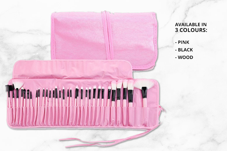32pc Pro Makeup Brush Set with Case – 3 Colours! for £9.99