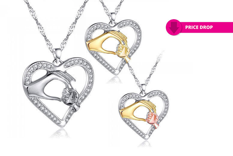 Mother & Child Necklace Made With Crystals From Swarovski – 3 Colours! for £9