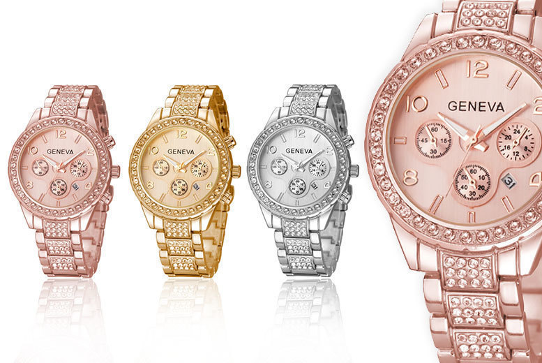 Crystal Geneva Freya Watch – 3 Colours! for £9.99