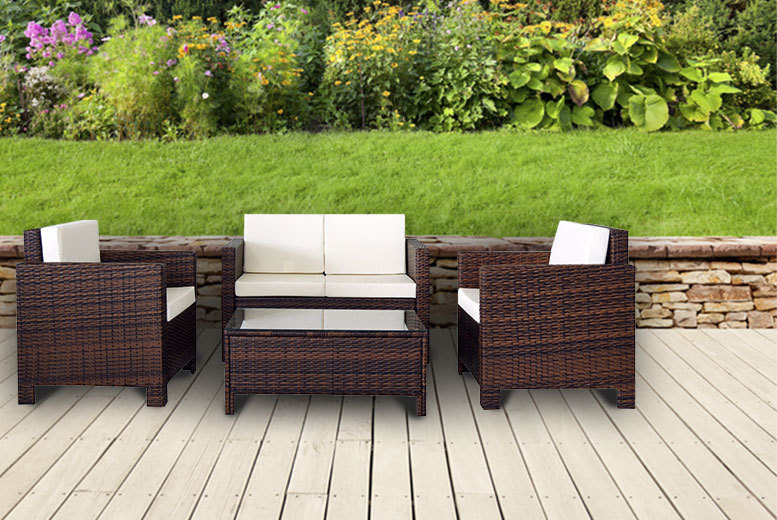 £229 instead of £699 for a four-piece rattan garden furniture set - choose from four colours and save 64%