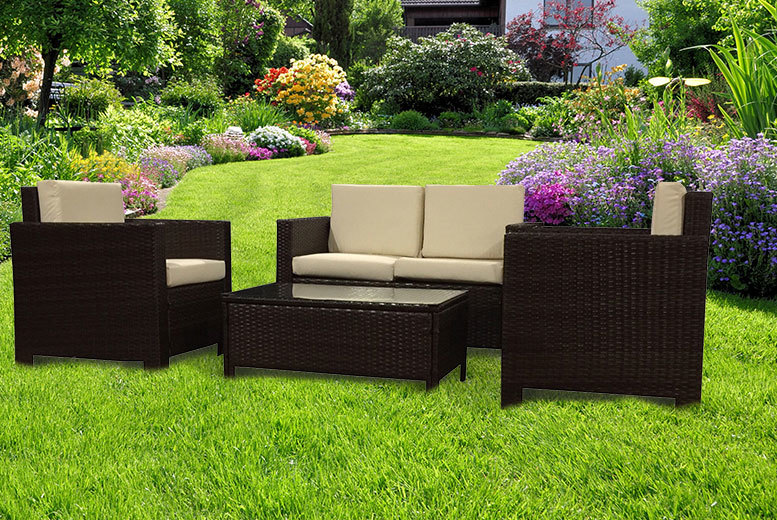 4pc Rattan Garden Furniture Se
