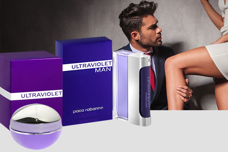 £22.99 for a 50ml bottle of Paco Rabanne Ultraviolet EDT for him, £25.99 for her EDP, £29.99 for 100ml for him or 80ml for her - save up to 44%