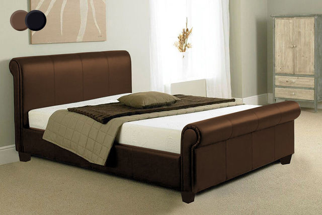 faux-leather-sleigh-bed