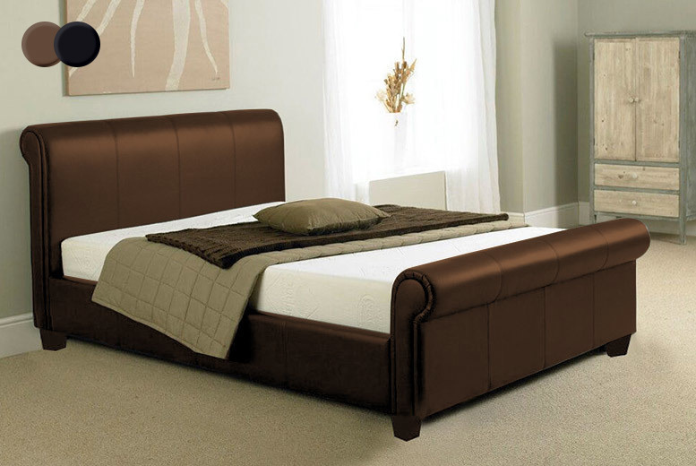 Faux Leather Sleigh Bed with Optional Mattress – 2 Colours! from £89