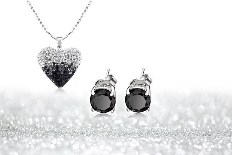 Black & Silver Ombre Necklace & Earrings Set for £12