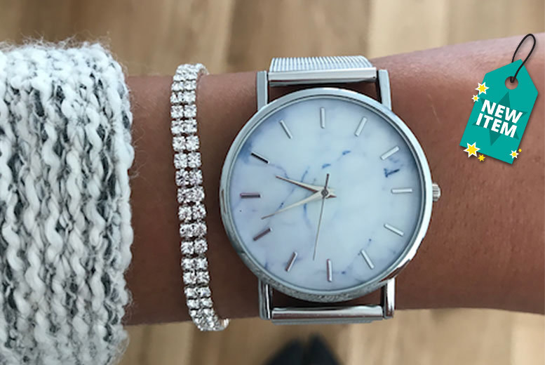 Jessica Rose Marble-Effect Watch & Bracelet Set for £12.99
