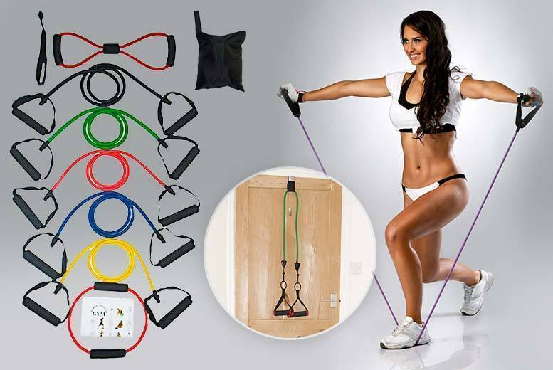 11PC Yoga & Cross-fit Resistance Band Set With Workout Guide for £8.99