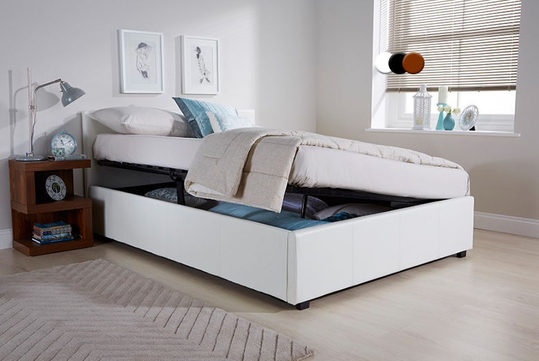 From £99 for a 3ft ottoman side lift bed, £189 for a side lift bed with a luxury Bonnell mattress - save up to 57%