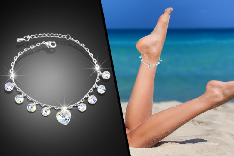 £7 instead of £44.01 (from Evoked Design) for a crystal drop anklet made with Swarovski Elements - choose from heart, bow, and lock and key designs and save 85%