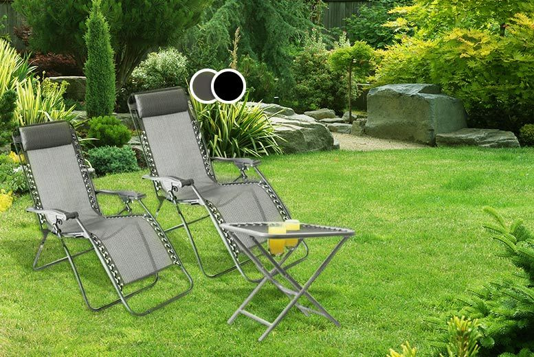 £59 instead of £150 for a three-piece 'Zero Gravity' reclining sun lounger and table set - choose from black and grey and save 61%