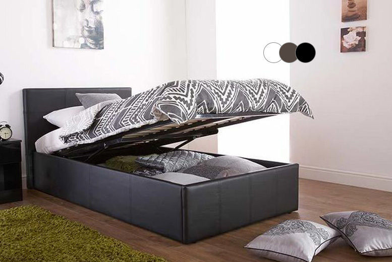 Gas Lift Faux Leather Ottoman Bed with Memory Mattress Option - 3 Colours!