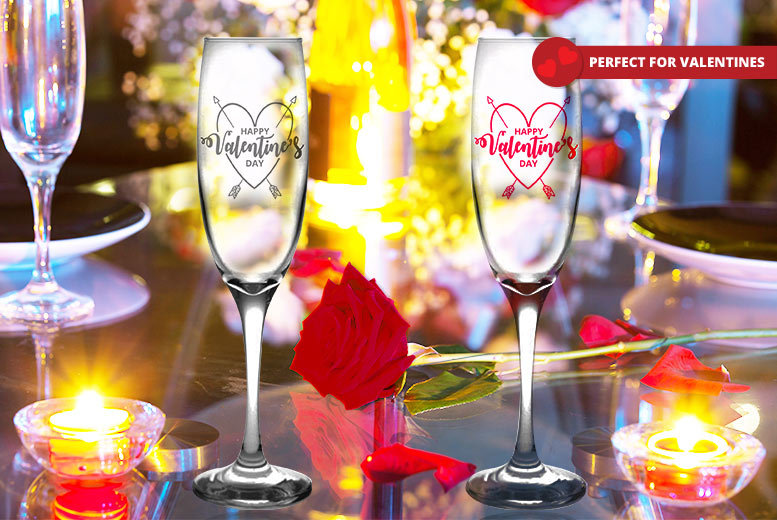 Personalised Valentine's Day Champagne Flute – 2 Colours! for £5.99