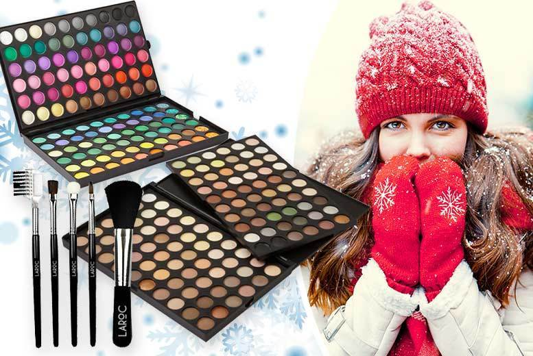 120-Colour Eyeshadow Palette & 5pc Brush Set – 2 Shades! for £4.99