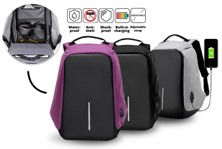 Anti-Theft' Backpack with USB Charging Port – 3 Colours! for £14.99