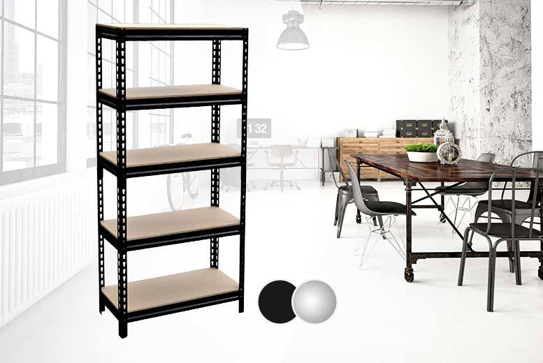 £26 instead of £199 (Shop Monk) for a five-tier shelf racking unit - choose silver or black and save 87%