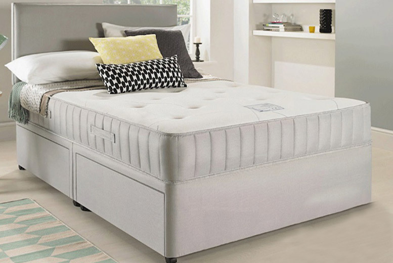 Luxury Suede Divan Bed with Headboard, Mattress & Storage Options - 5 Sizes!