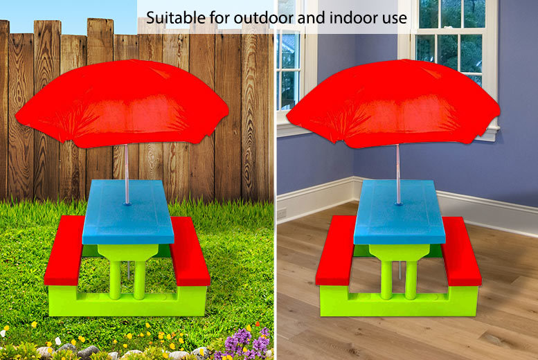 Kids' Outdoor Picnic Bench with Parasol for £29.00