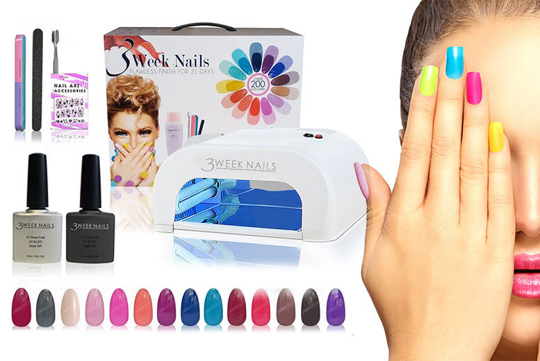 12 or 15pc Gel Nail Polish & Accessories Kit with UV Lamp from £29.99