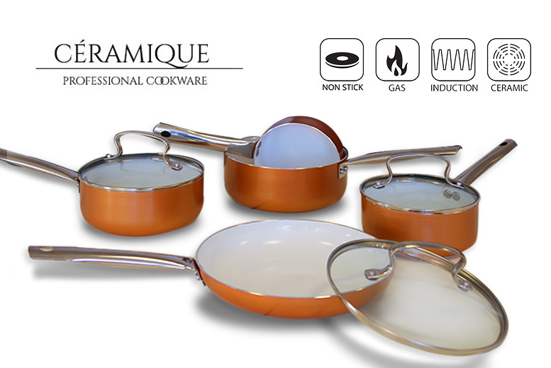 8pc Non-Stick Copper Effect Induction Pan Set for £39.00
