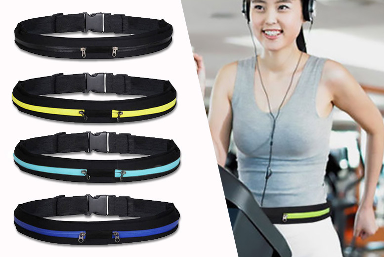 Adjustable Double Pocket Sports Belt – 4 Colours! for £2.99