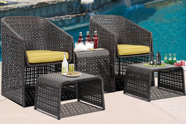 Wowcher Deal 149 Instead Of For A Five Piece Rattan Garden Furniture Set With