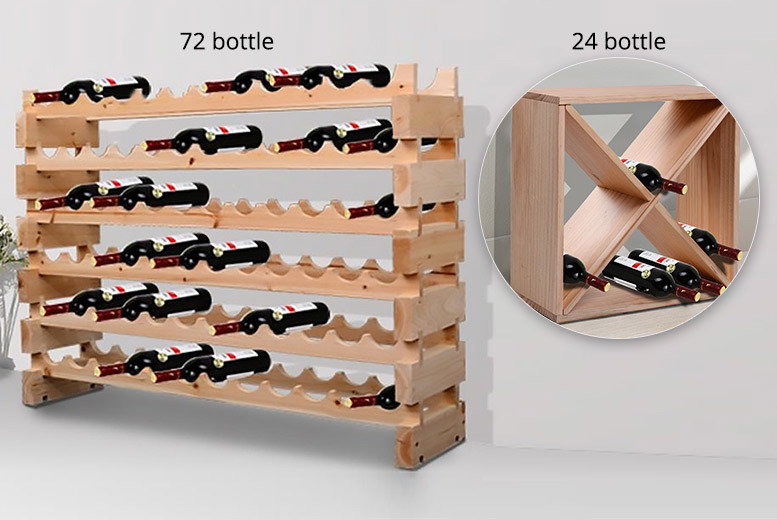 Heavy Duty 24 or 72 Bottle Wooden Wine Rack from £24.99