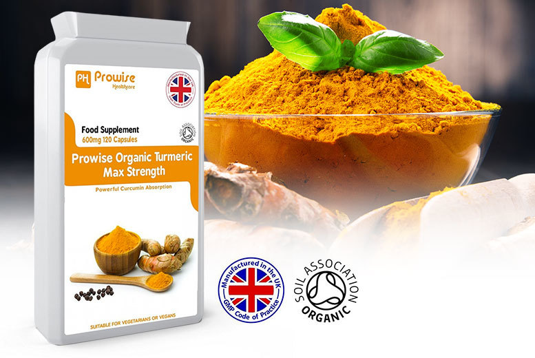 4mth Supply* of Max Strength Organic Turmeric Capsules for £9.00