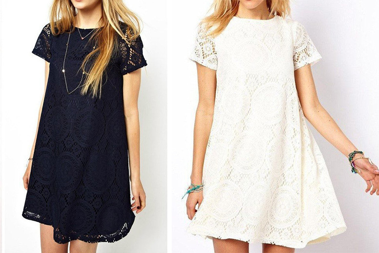 Lala Lace Capped Sleeve Dress – 2 Colours! for £10.00