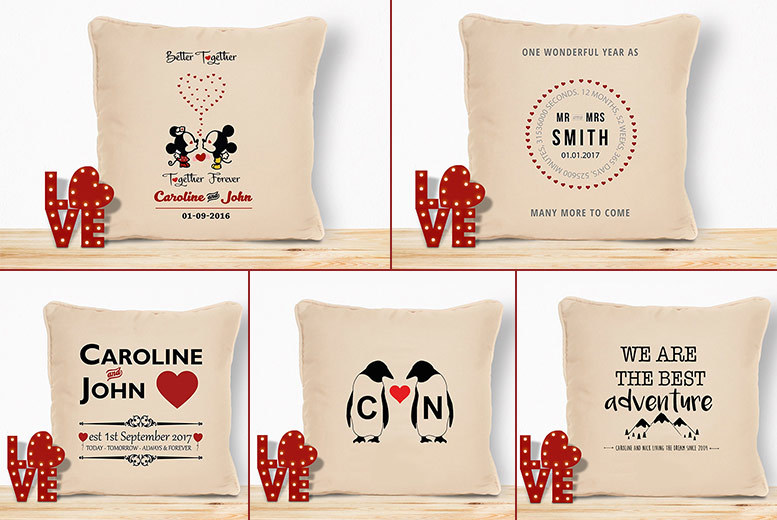 Personalised Valentine's Cushion – 5 Designs! for £9.99