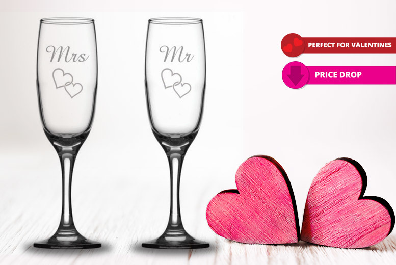 Pair of Mr & Mrs Valentine's Engraved Prosecco Flutes for £9.99