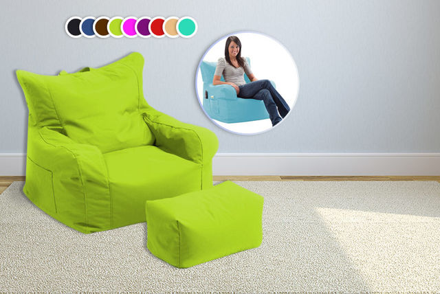 Shopisfy Large Bean Chair With Foot Stool