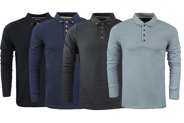 Men's 'Lincoln' Long Sleeve Top – 9 Colours & Sizes S-XL! for £8.99