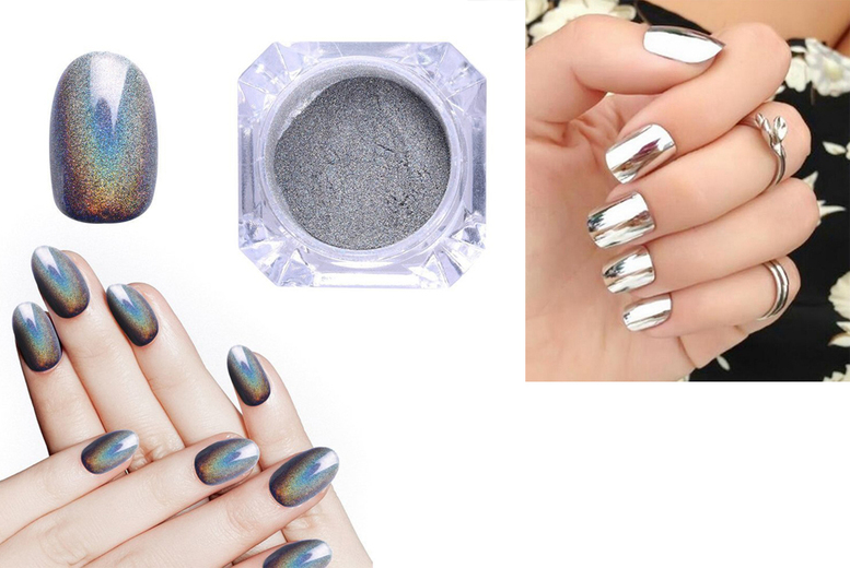 Magic Mirror Nail Powder- Silver or Holographic from £1.99