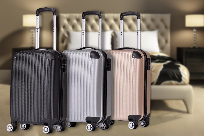 Monochrome Hard-Shell Cabin Suitcase – 3 Colours! for £21.00